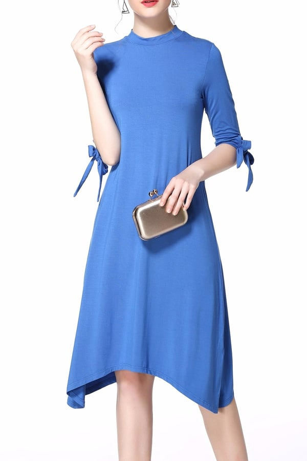Miss Finch Hi-Lo Tie Sleeves Dress