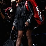 Serena Arrived at the Competition Wearing a Leather Jacket Over Her Dress