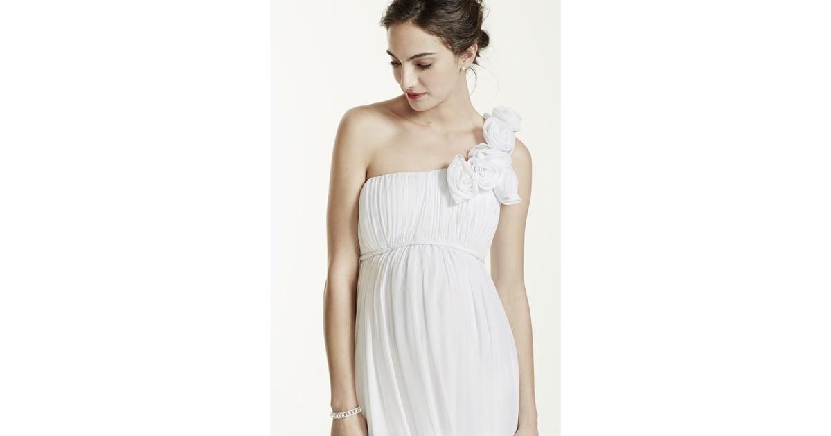 Maternity Wedding Gown: David's Bridal One Shoulder Chiffon Maternity Dress