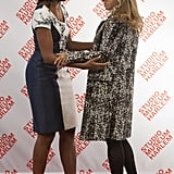 Michelle greeted Valerie Trierweiler, domestic partner of French President Francois Hollande.