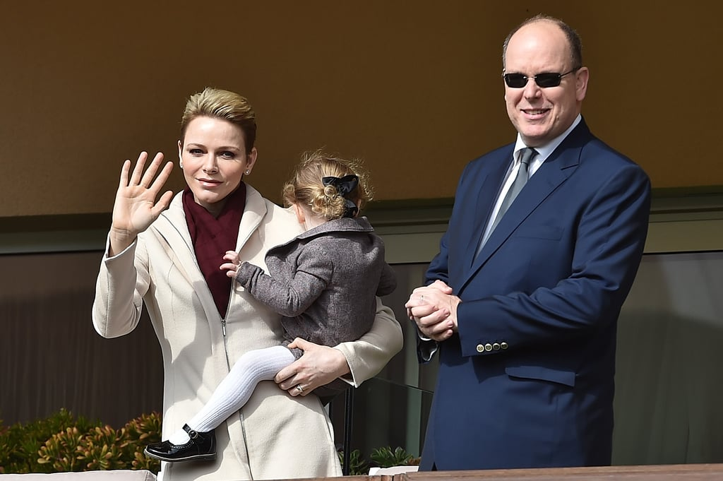 Princess Charlene turned the Sainte Devote Rugby Tournament in Monaco on Saturday into a royal family affair when she stepped out with husband Prince Albert II and 2-year-old Princess Gabriella. While the trio wasn't as animated as Kate Middleton and Prince William at a rugby match in Paris, the trio put on a sweet display as Gabriella cuddled up with her mom and buried her little head in her shoulder. Prior to the game, Albert and Charlene met with the teams and posed for pictures on the field. Unfortunately, Gabriella's twin brother, Prince Jacques, wasn't in attendance, but we did catch an adorable glimpse of him during a church service back in January.