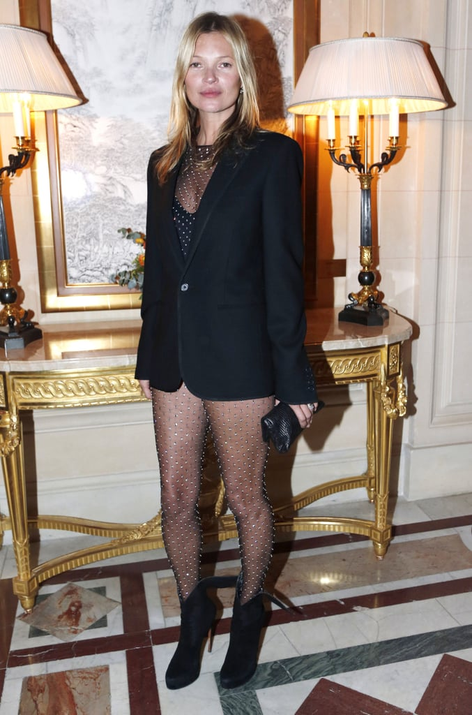 Kate Moss went sheer in a Saint Laurent number at the CR Fashion Book soiree in Paris.
