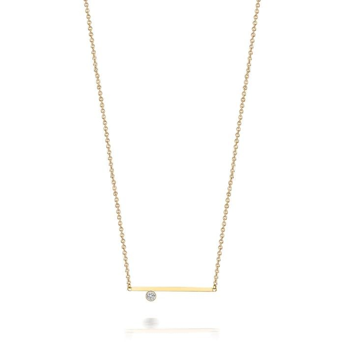 SDLA Collection 14kt Solitaire Diamond Bar Necklace