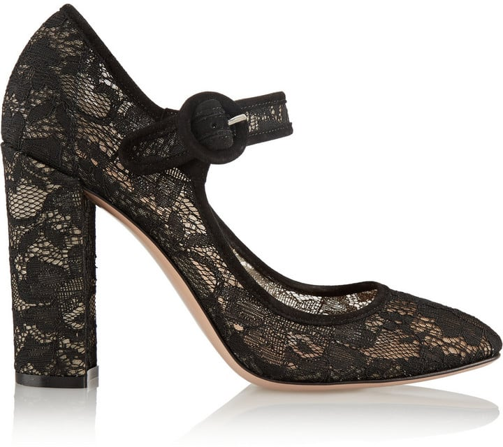 Gianvito Rossi Suede-Trimmed Chantilly Lace Mary Jane Pumps ($920)