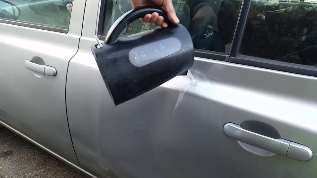 Remove dents with a plunger.