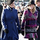 Zara and Autumn Phillips attended the Christmas Day service in 2009.