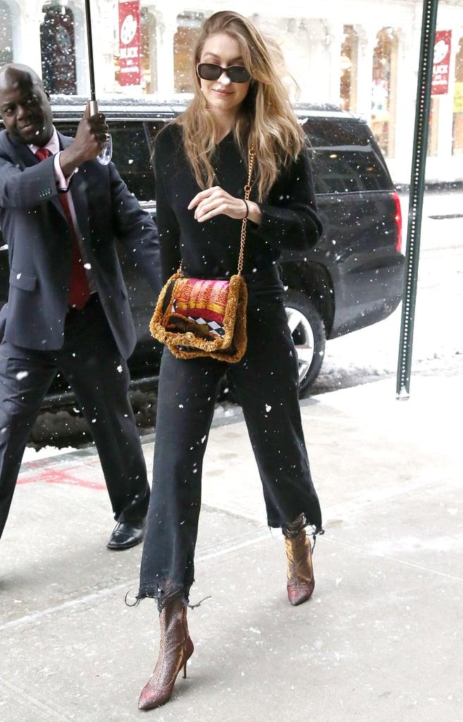 Gigi Hadid Carrying Versace Pillow Bag