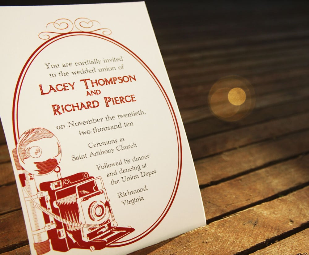 Can't leave the house without your camera? Pick the photographer-friendly vintage camera invitation design ($35 for digital file).