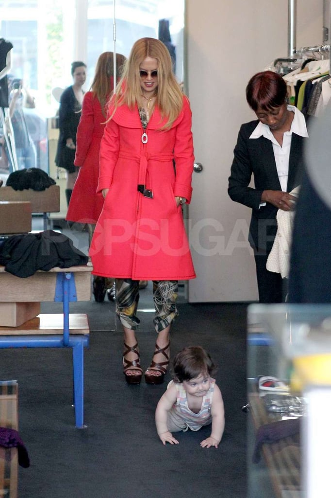 Skyler crawled around the boutique while mom Rachel Zoe shopped in West Hollywood.