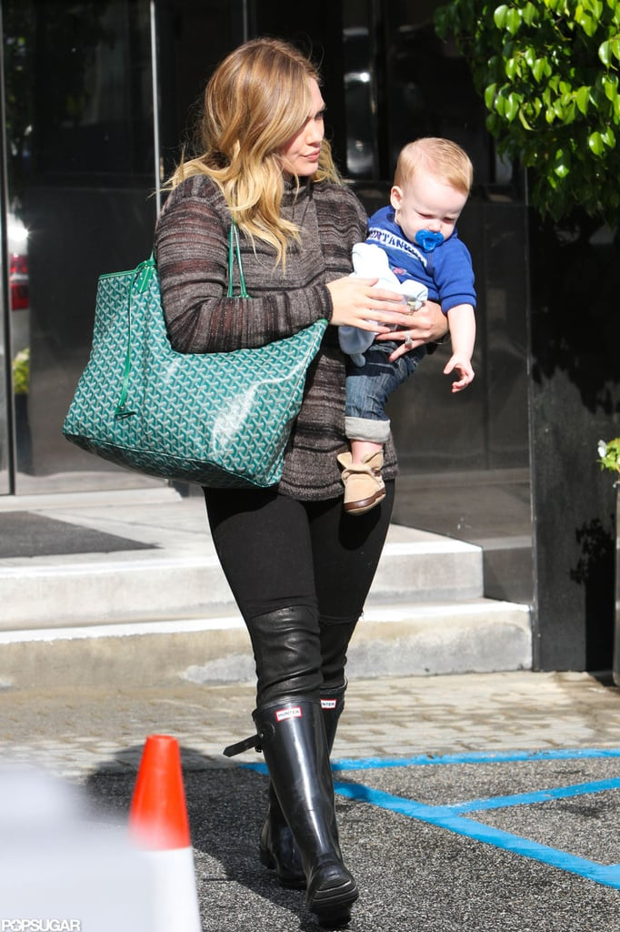 Hilary Duff carried Luca to the car in LA.