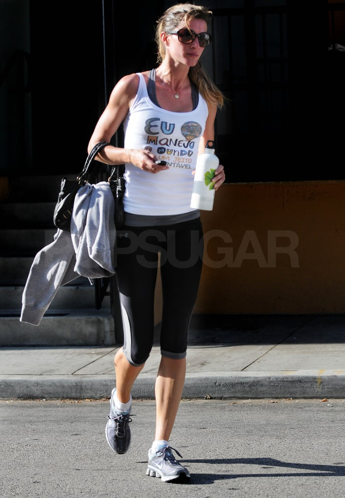 Gisele Bundchen left her LA gym after an early morning workout.