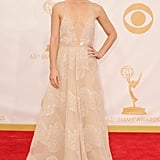 Claire Danes wore shorter hair and a long gown on the red carpet for the Emmy Awards.