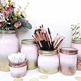 Gold Pink Mason Jar Organizers
