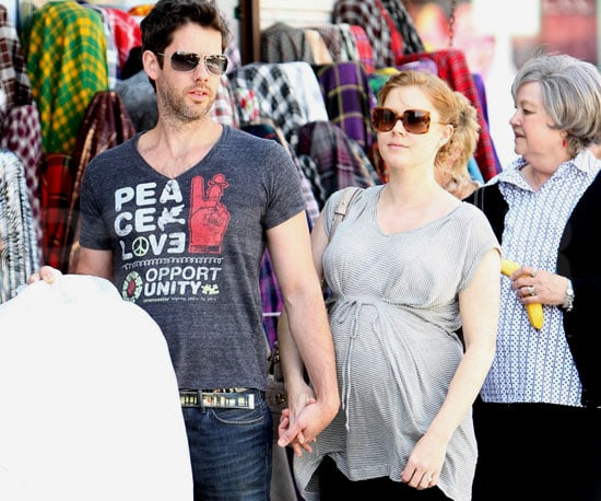 Slide Photo of a Very Pregnant Amy Adams Wearing a Gray Shirt in Los Angeles