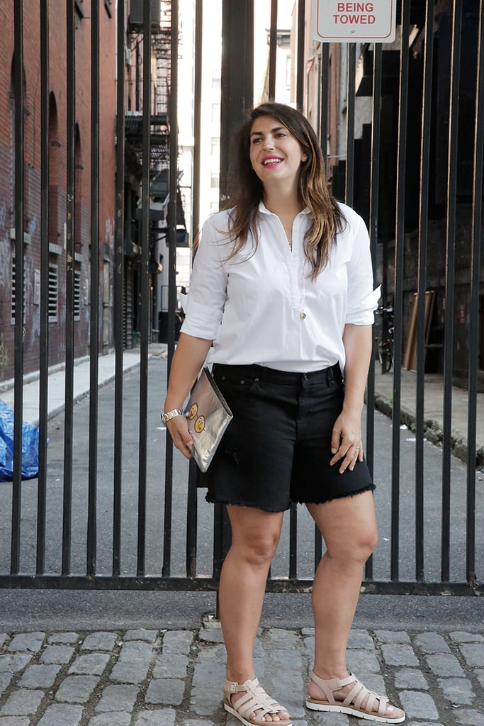 Katie wears an AYR top, Gap BF shorts, a Parker Thatch clutch, and Clarks sandals. (Check out other ways to rock a button-down right this way.)