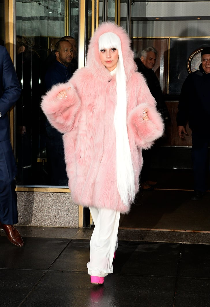 Lady Gaga in Pink Fur Coat in New York City in 2014 | Lady