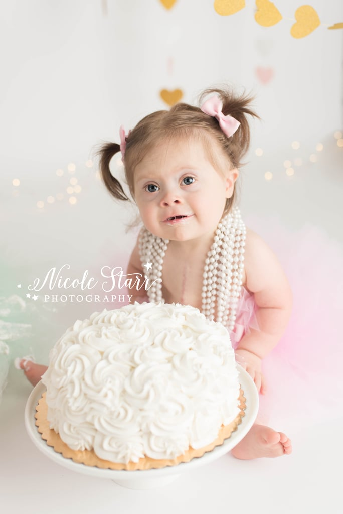 three of hearts girls with down syndrome cake smash popsugar moms