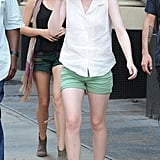 Dakota Fanning on the set of her new film Very Good Girls.