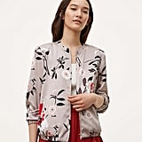 Loft Botanical Charmeuse Bomber Jacket