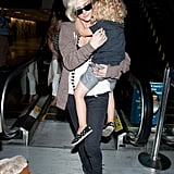 Ashlee Simpson arrived at LAX Friday with her son, Bronx Wentz.