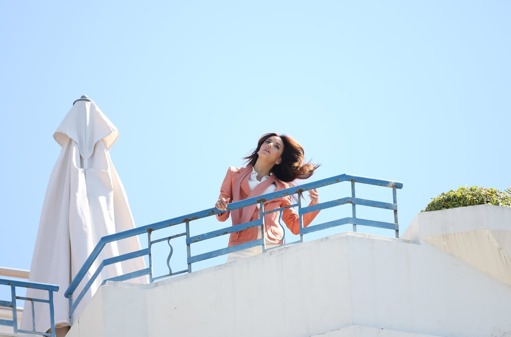 Eva Longoria tossed her hair for a photo shoot in Cannes.