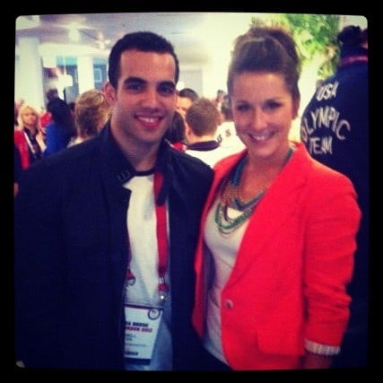 Carly Patterson posed for a photo with fellow gymnast Danell Leyva. Source: Twitter user CarlyPatterson