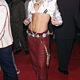 Houndstooth pants and a cropped satin jacket made up her Billboard Music Awards ensemble in 2001.
