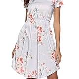 Nicias Floral Short Sleeve Tunic Midi Dress With Pockets