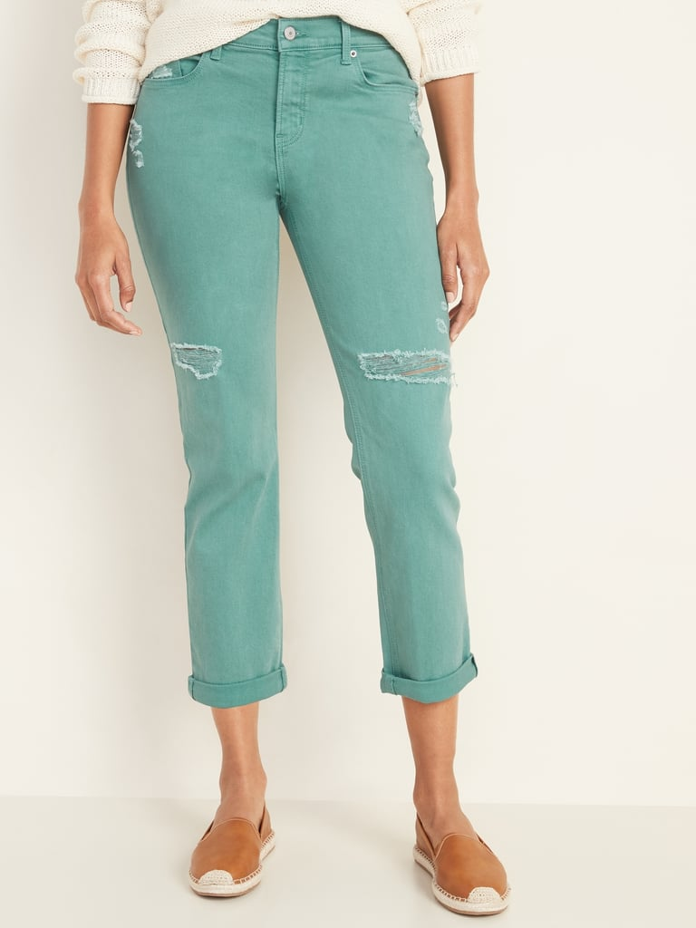 Old Navy Mid-Rise Distressed Pop-Colour Boyfriend Straight Jeans