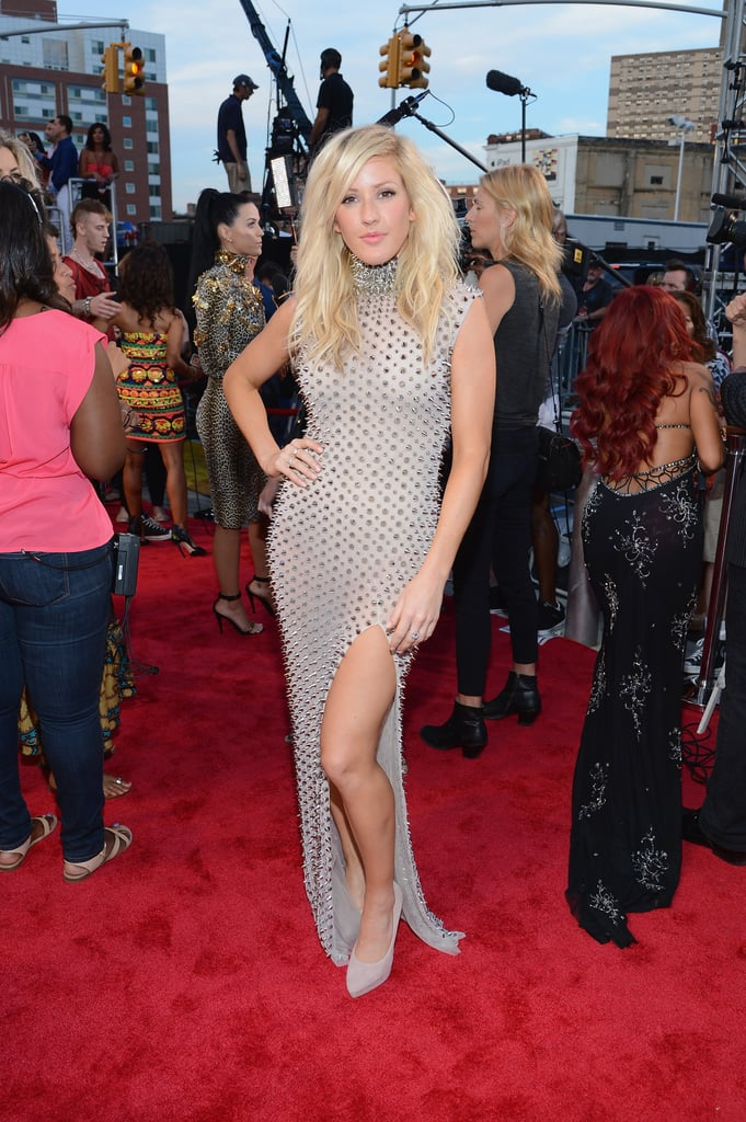 Ellie Goulding stood out in an edgy studded dress with a side slit and a high neck. She finished her look with Brian Atwood pumps.