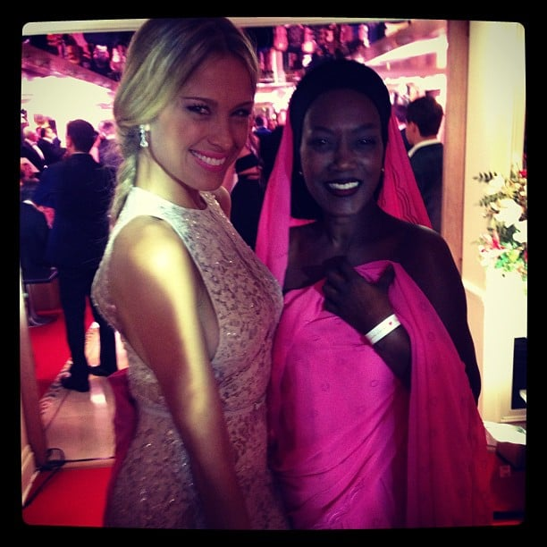 Petra Nemcova sparkled while posing with a pretty-in-pink pal at the Chopard party. Source: Instagram user pnemcova