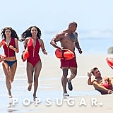 Zac Efron Falls While Running on the Beach For Baywatch