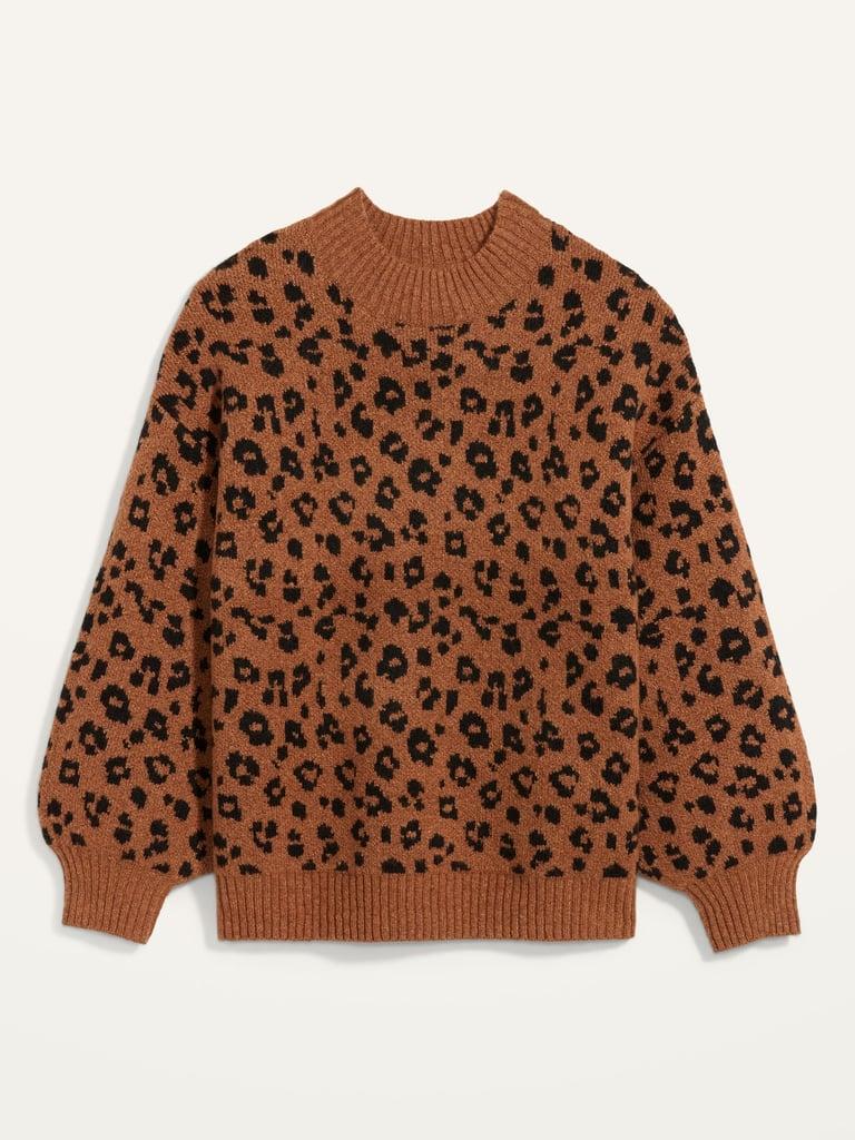 Cosy Leopard-Print Mock-Neck Sweater