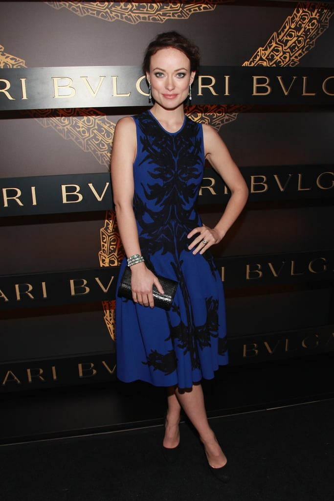 Olivia Wilde posed in blue at a Bulgari event on Saturday.