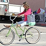 Alessandra Ambrosio showed off her biking skills.