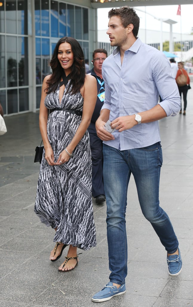Megan Gale and Shaun Hampson arrived at the semi-final between Rafael Nadal and Roger Federer.