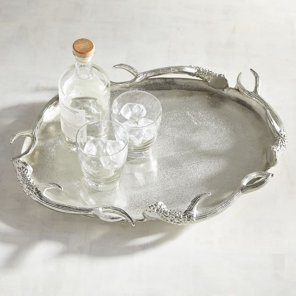 Silver Antler Decorative Oval Platter ($100)