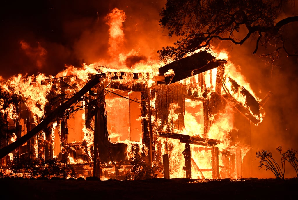 A home is engulfed by flames in Glen Ellen, CA.