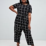 ASOS Design Curve Check-Print Jumpsuit With Short Sleeve