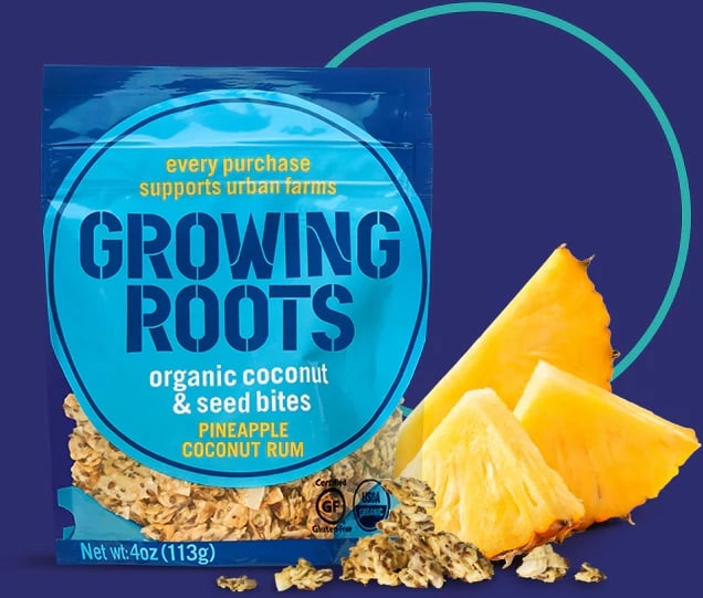 Growing Roots Pineapple Coconut Rum Seed Bites