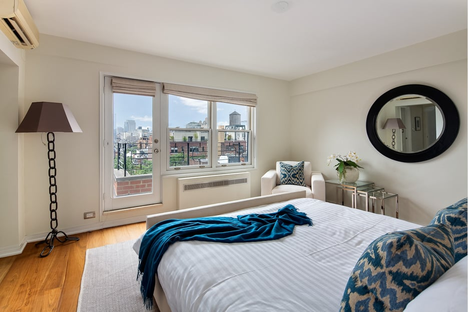 One of the home's three bedrooms opens directly onto the terrace.
