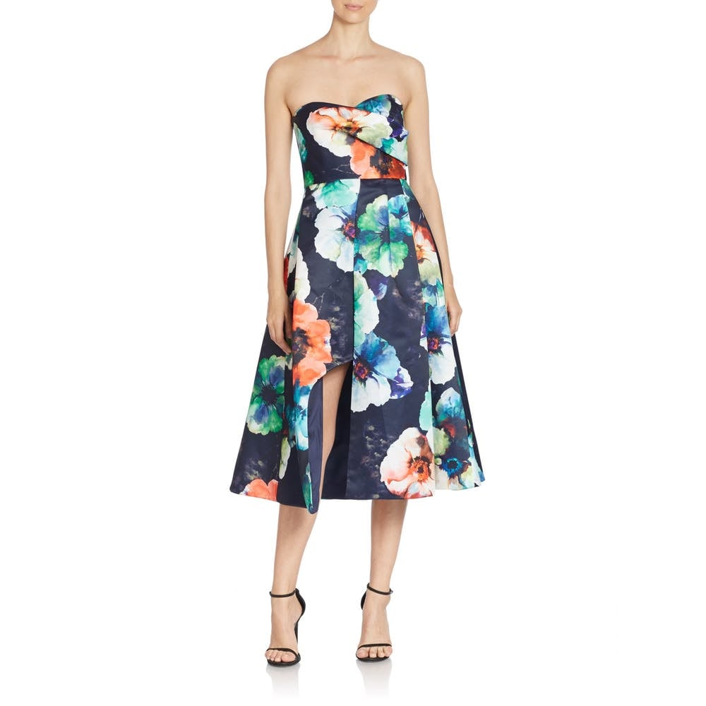 Black Halo Caine Floral Print Cocktail Dress