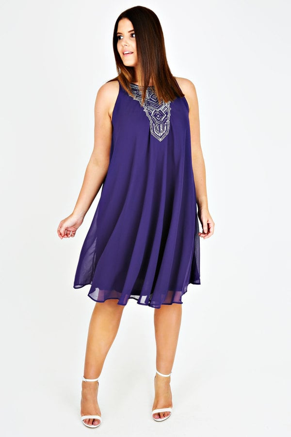 Yours Clothing Purple Chiffon Sleeveless Swing Dress With Silver ...