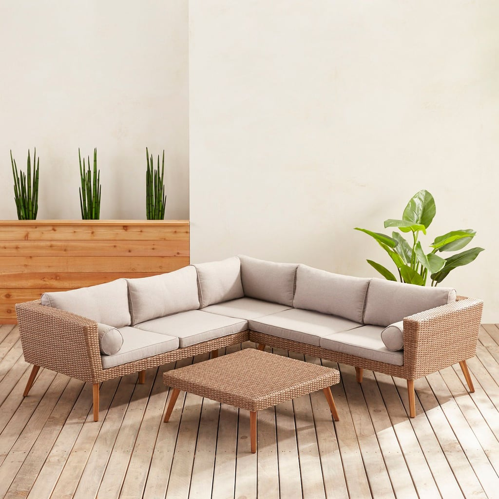 Bari Sand Sectional and Square Coffee Table Collection With Cushions