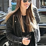 Jessica Biel wore a black leather jacket around Paris.