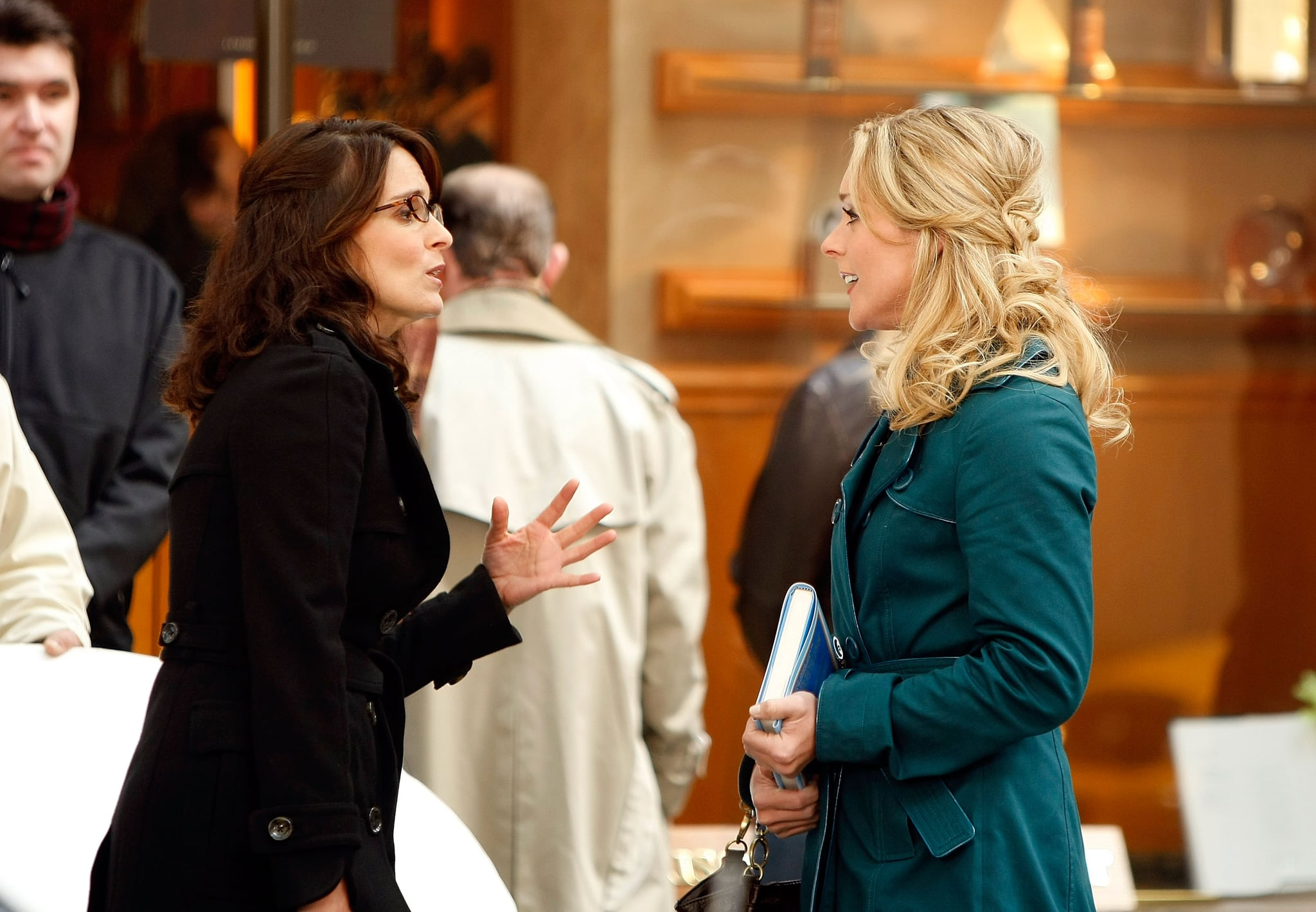 NEW YORK - OCTOBER 06:  Actresses Tina Fey and Jane Krakowski (R) stand on location during filming for