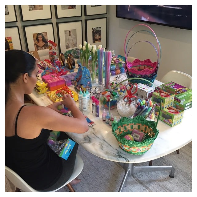 Kim kardashian spent the night before easter dying eggs and kim kardashian spent the night before easter dying eggs and filling celebrity family easter pictures 2015 popsugar moms photo 8 negle Image collections