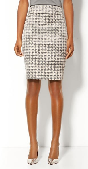 Take this New York & Company coated houndstooth check pencil skirt ($50) for a spin with a black turtleneck — très chic!