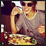 Alessandra Ambrosio chowed down on steak and french fries at NYC's Pastis restaurant. Source: Instagram user alessandraambrosio