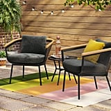 Bangor Metal Mesh and Faux-Wood Patio Chat Set